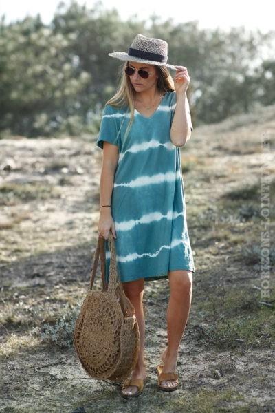 Robe-courte-vert-amande-tie-and-dye-c41-boheme-hippie-70s