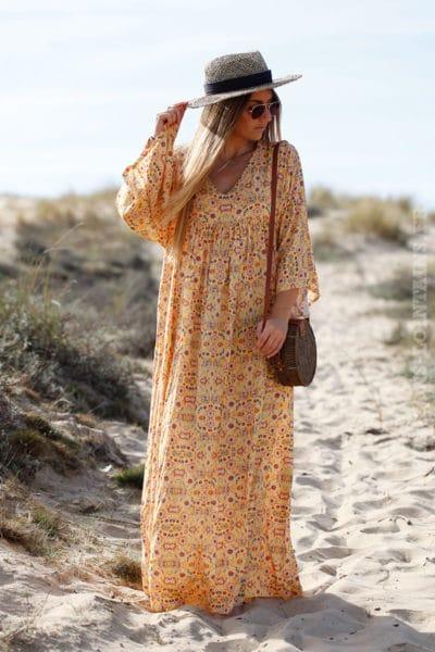 Robe-longue-jaune-imprimé-fleurs-c38-boheme-boho-hippie-3