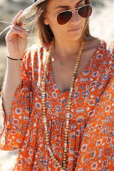Robe-longue-orange-imprimé-fleurs-c38