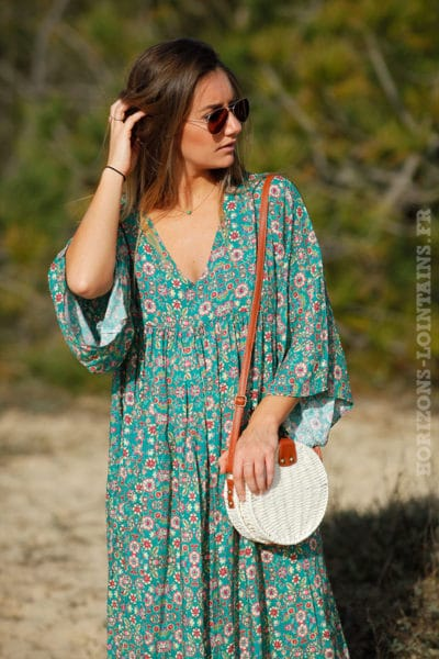 Robe-longue-verte-imprimé-fleurs-c38-boheme-boho-hippie-3