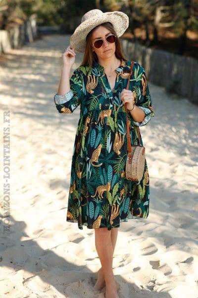 Robe noire fluide imprimé jungle vêtement femme grande taille
