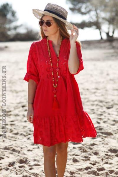 Robe-rouge-avec-broderie-anglaise-style-dentelle-idée-tenue-femme-moderne