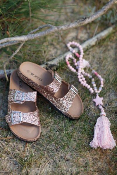 sandales femme rose gold paillettes birkenstock tendance
