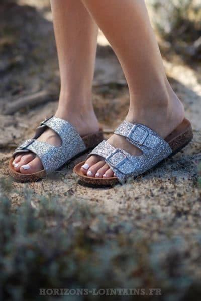 sandales femme argentées silver paillettes birkenstock tendance