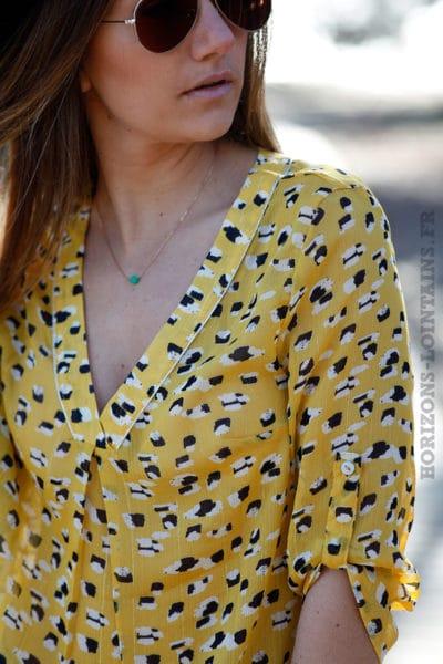 Top jaune voilage imprimé animal esprit léopard