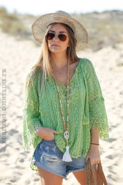 Tunique-vert-pomme-dentelle-doublée-look hippie-esprit bohème détail