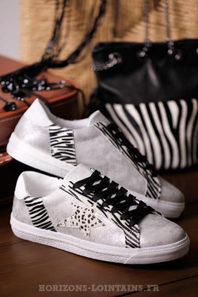 baskets femme argentées zébrées, étoile léopard style golden goose