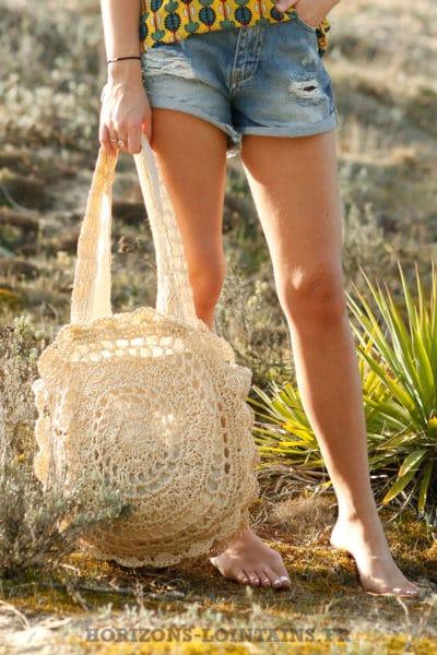 Panier style bohème beige naturel sac plage femme