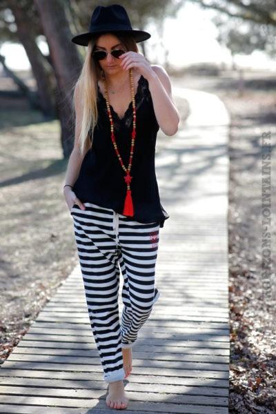 pantalon jogging femme rayures noires blanches