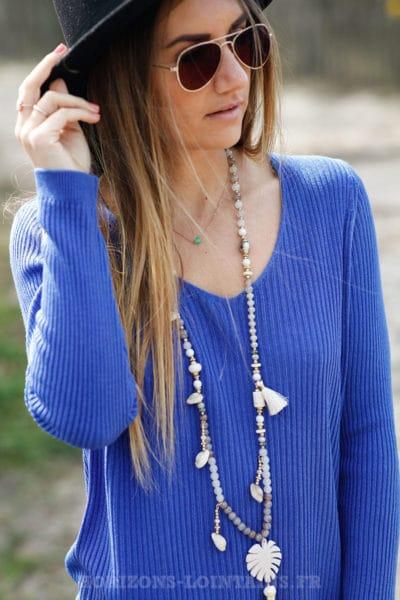 Pull fin femme col V, matière côtelé, couleur Bleu roi