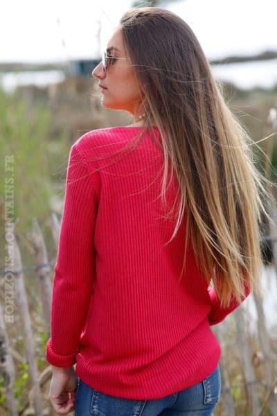 Pull fin femme col V, matière côtelé, couleur Framboise