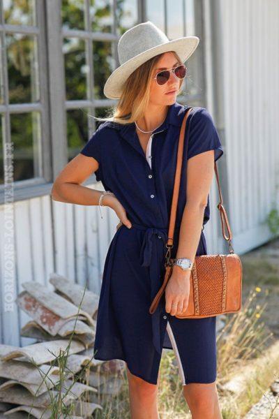 robe-chemise-bleu-marine-manches-courtes-lien-taille-C022