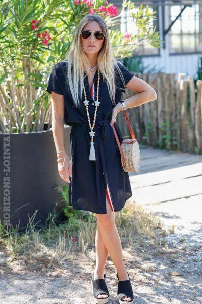 robe-chemise-noire-manches-courtes-lien-taille-C022