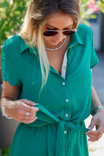 robe-chemise-verte-manches-courtes-lien-taille-C022