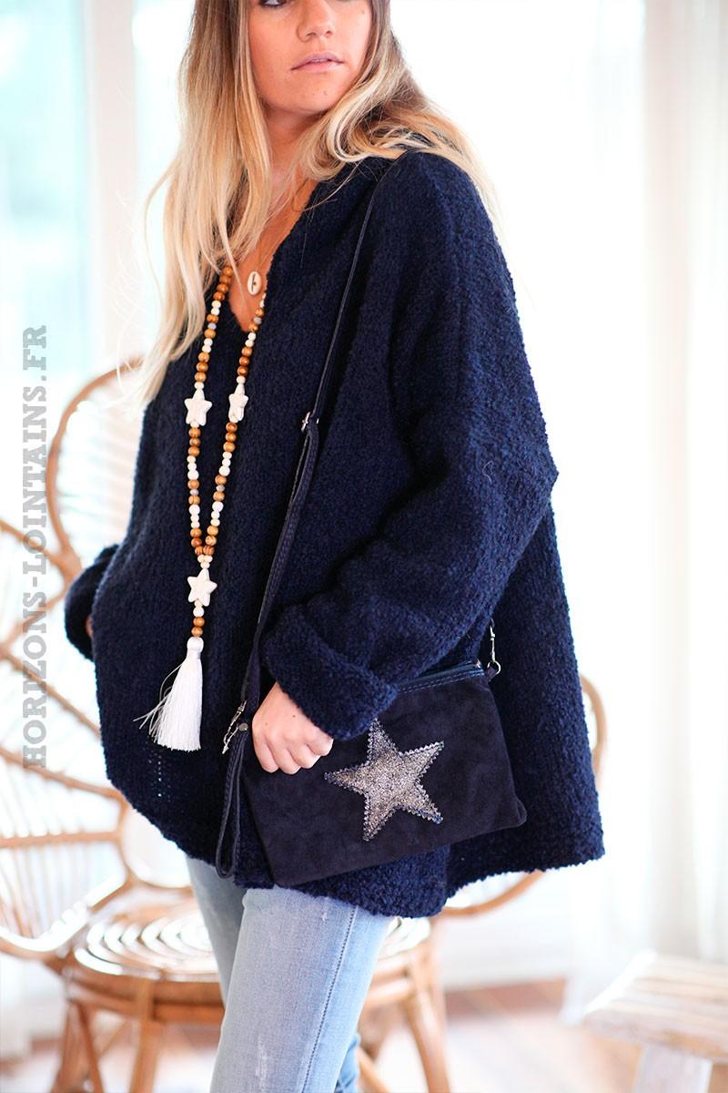 sac-bandouliere-étoile-cuir-velours-bleu-marine