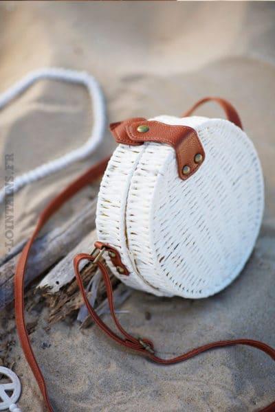 sac rond de plage osier rotin blanc