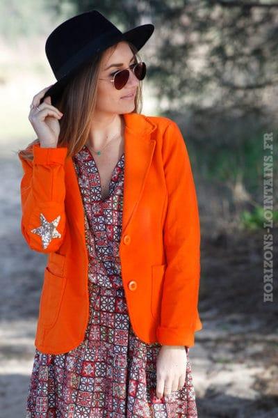 veste-blazer-jersey-étoile-brillante-sequins-coudes-orange-vêtement-femme-moderne-tendance