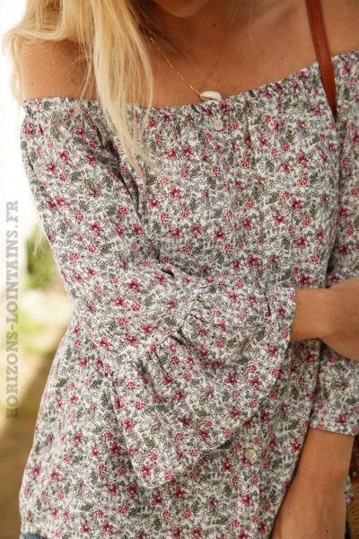 Blouse-boutonnée-blanche-imprimé-petites-fleurs-rose-c92