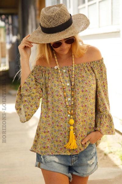 Blouse-jaune-boutonnée-imprimé-petites-fleurs-c092