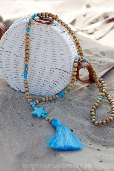 Collier-perles-bois-étoiles-bleu-azur-c28