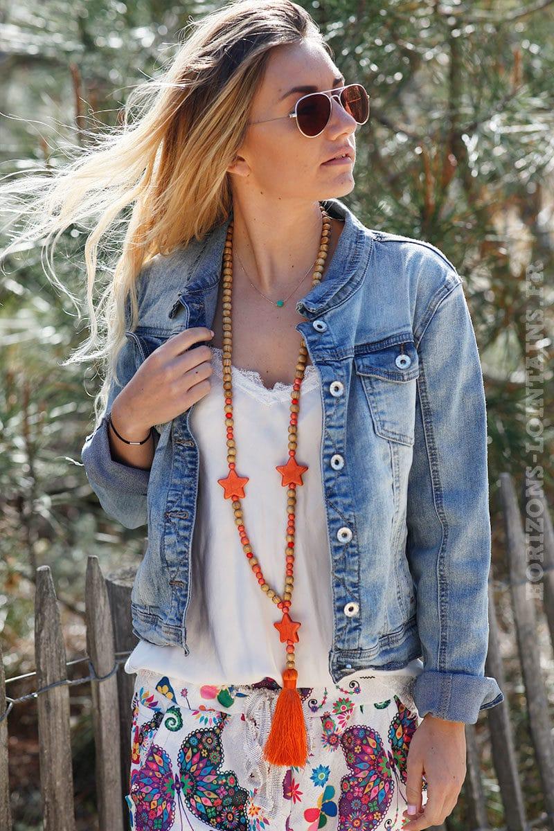 Collier-perles-bois-étoiles-orange-c54-6