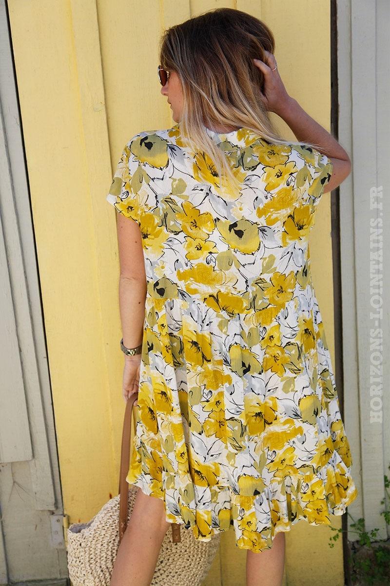 Col Imprimé Jaune Nuances Fleurs Robe Chemise De vN80ymnwOP
