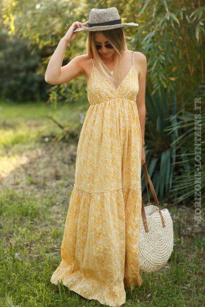 Robe-longue-à-bretelles-imprimé-jaune-c60