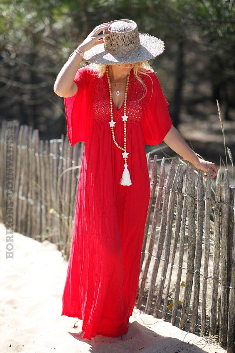nouveau sommet charme de coût dégagement Robe longue rouge bohème col avec broderie fine