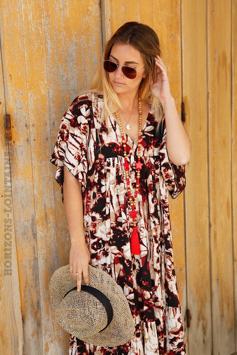 cf388d8d1b5 Robe longue rouge imprimé fleurs esprit tie dye - Horizons Lointains