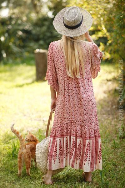 Robe-mi-longue-imprimé-fleurs-rouges-manches-courtes-c58