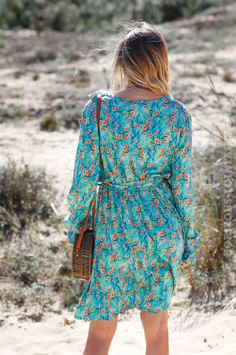 Robe-turquoise-imprimé-fleurs-exotiques-col-volant-c51