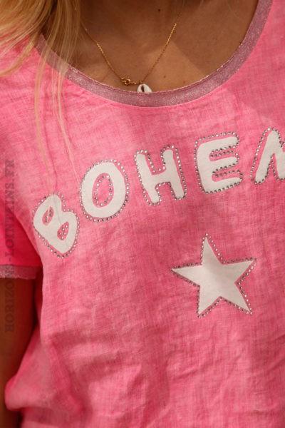 T-shirt-rose-fluo-lin-et-coton-bohème-c90