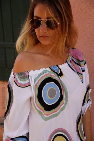 Tunique-blanc-imprimé-cercles-colorés-c106