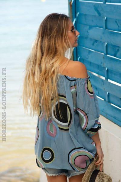 Tunique-bleu-jean-imprimé-cercles-colorés--c106