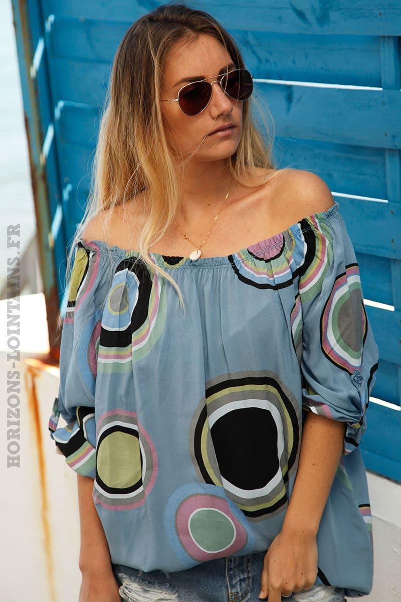 Tunique-bleu-jean-imprimé-cercles-colorés--c106-7
