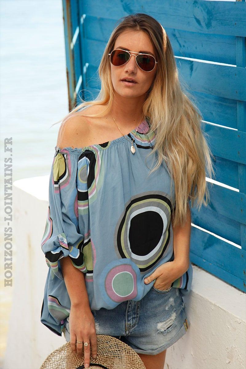57b70541a51 Tunique bleu jean imprimé cercles colorés - Horizons Lointains