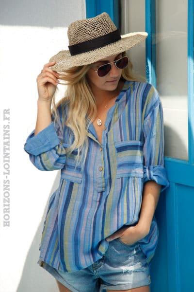 Tunique-bleue-en-coton-à-rayures-colorées-c104