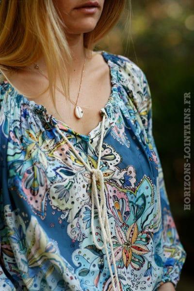 Tunique-fond-bleu-jean-imprimé-fleurs-tropicales--1
