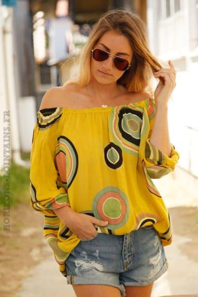 Tunique-jaune-imprimé-cercles-colorés--c106