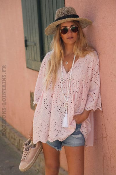 Tunique-rose-pale-manches-courtes-broderie-anglaise-c98