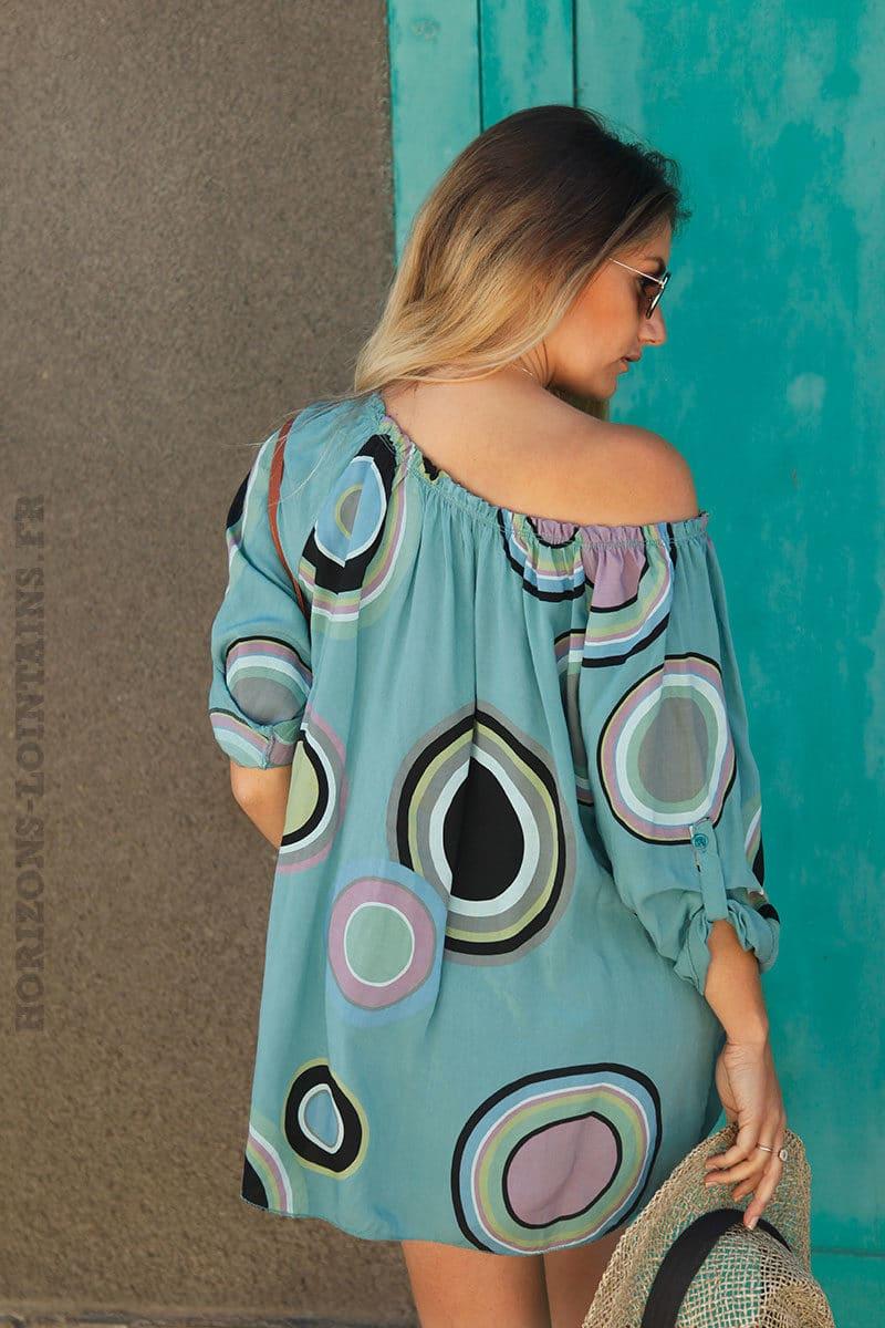 Tunique-turquoise-foncé-imprimé-cercles-colorés-c106