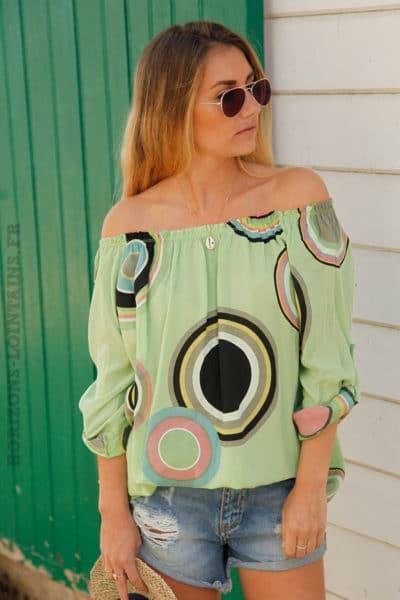 Tunique-vert-imprimé-cercles-colorés--c106