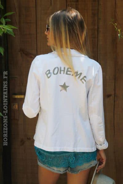 Blazer-blanc-inscription-bohème-argenté-c15