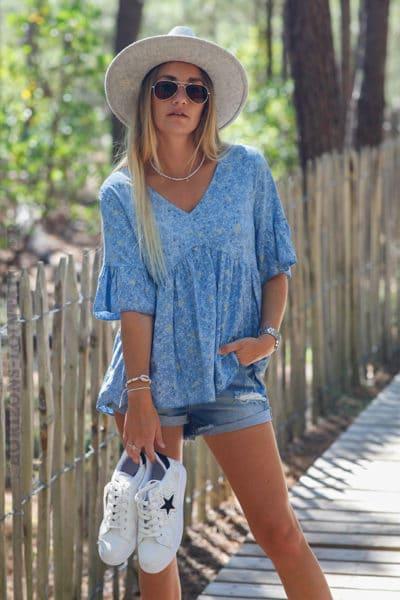 Blouse-bleu-jean-manches-courtes-imprimé-étoiles-dorées-c143