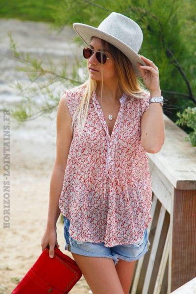 Blouse-corail-manches-courtes-voilage-imprimé-fleurs-c129