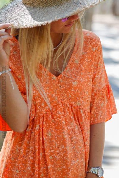 Blouse-orange-manches-courtes-imprimé-étoiles-dorées-c143