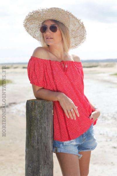 Blouse-rouge-manches-courtes-imprimé-liberty-c132