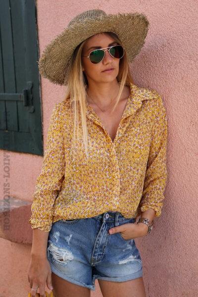 Chemise-It-Hippie-imprimé-fleurs-jaune-et-lavande-c112