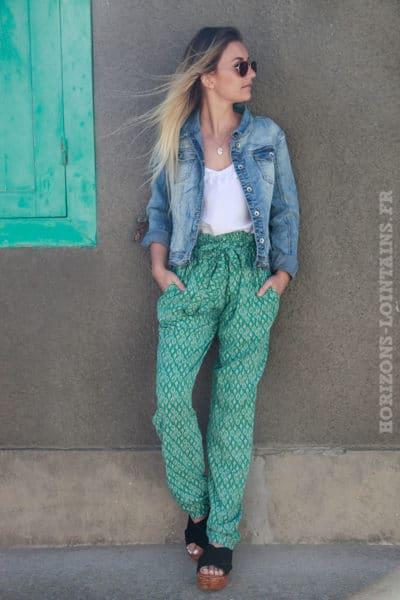 Pantalon fluide vert imprimé feuilles PANT C016