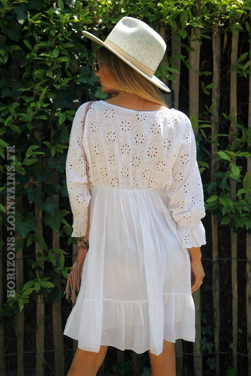 Manches Broderie Ajourée Volants Blanche Robe Anglaise TF1cKJl3